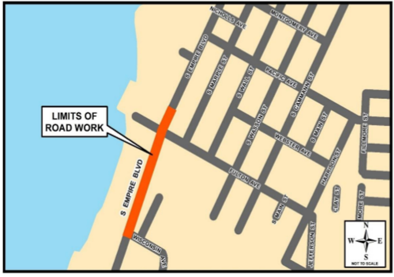 Empire Blvd Paving Project map