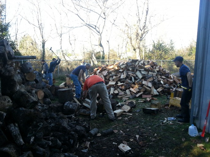 Chopping fire wood at Salvation Army