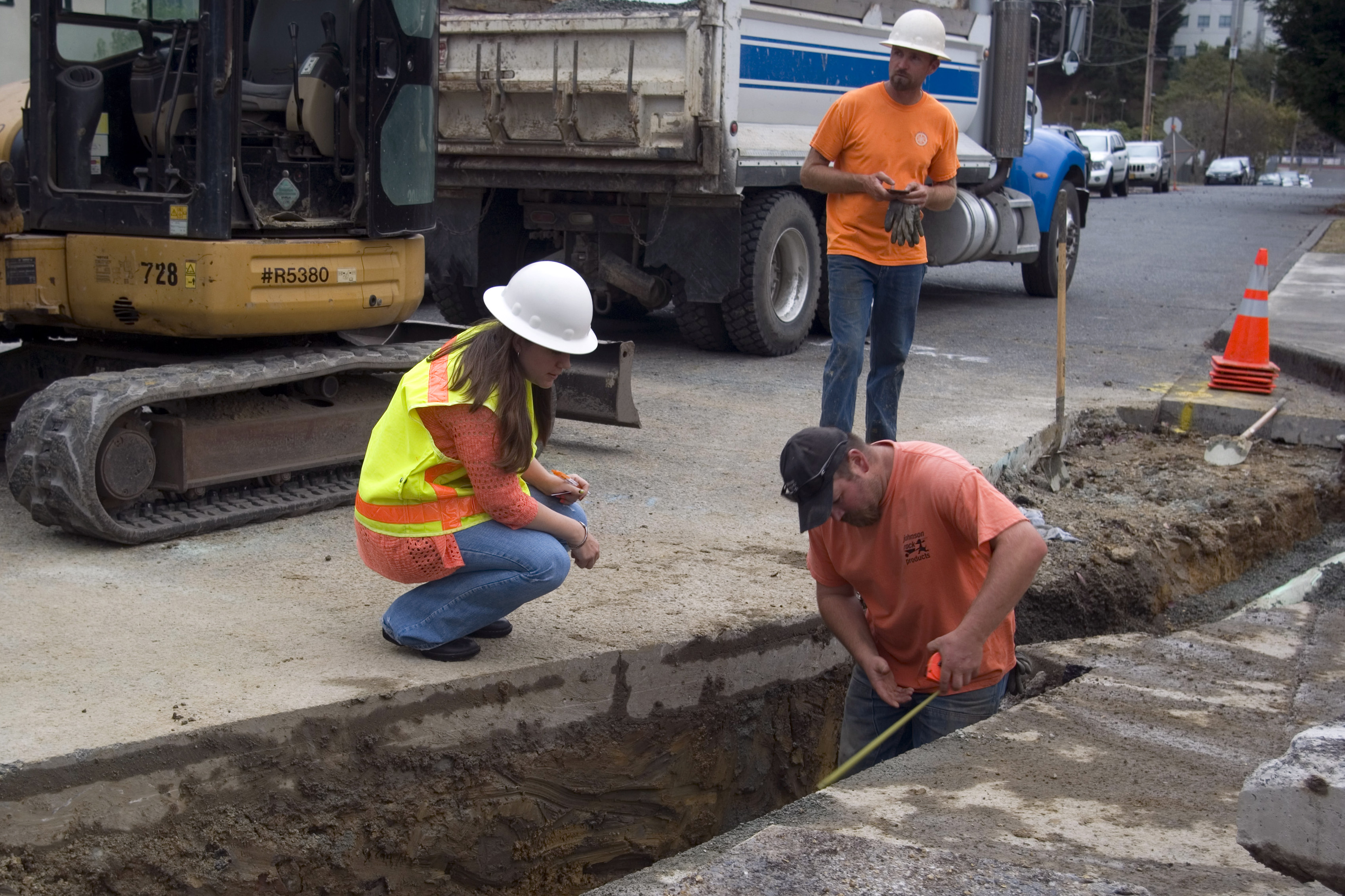 City inspectors check sewer repairs